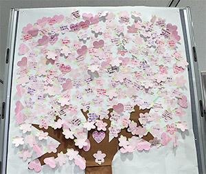 参加者の未来への薬束を集めた桜の木