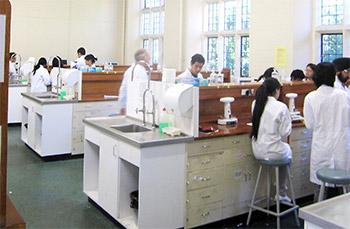 シドニー大学薬学部の実習風景(アジア系の学生が目立つ)