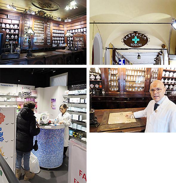 ボローニャでもっとも歴史のある薬局の1つであるトスキ薬局は、伝統的な店舗を残しつつ周囲の土地を入手しながら拡張を続け、現代的なものとマッチングさせた店舗デザイン。医薬品調剤や健康相談は、モダンな空間で提供し、CUP予約窓口は、伝統的な薬局カウンターを利用している。まもなく市の重要文化財に指定される予定なので、CUP窓口は店舗の一番奥のプライバシーが保持される空間に移動予定。古さの中に新しいものを取り入れるのがイタリア風なのかもしれません