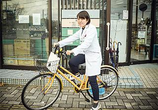 近隣の在宅訪問は自転車で