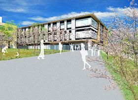 可児市の新キャンパスに建設する薬学部実験実習棟の完成予想図(岐阜医療科学大学提供)