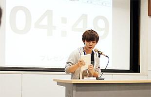 学内予選で作品を紹介する高橋さん