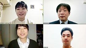 安川さん(右上)に、山沢(左上)、小林(左下)らがテレビ会議システムで話を聞いた