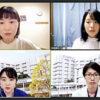 薬剤師レジデント修了者の藤田さん(右下)と、2年目の今子さん(左下)に、山沢(左上)、百瀬(右上)がテレビ会議システムで話を聞いた